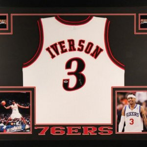 Allen Iverson Signed 76ers 35x43 Custom Framed Jersey (PSA COA)