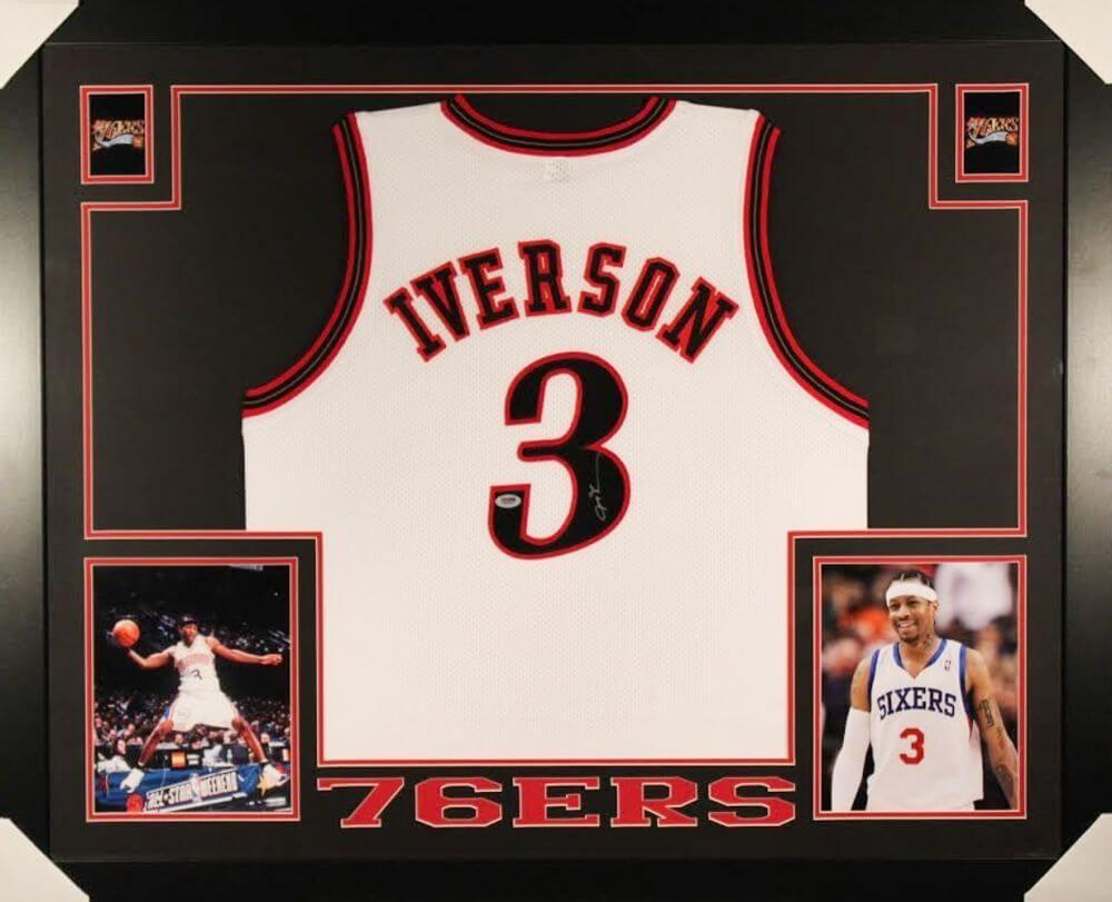 75d98a531e2 Allen Iverson Signed 76ers 35×43 Custom Framed Jersey (PSA COA ...