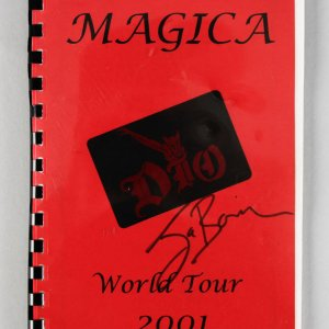 DIO Magica World Tour 2001' Band & Crew Book Signed by Jimmy Bain with some of his notes inside