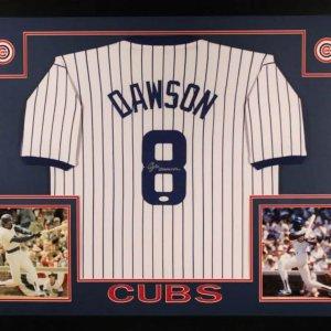 Andre Dawson Signed Cubs 35x43 Custom Framed Jersey (JSA COA)