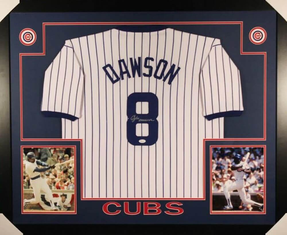 save off 60f9a 0aecd Andre Dawson Signed Cubs 35x43 Custom Framed Jersey (JSA COA)