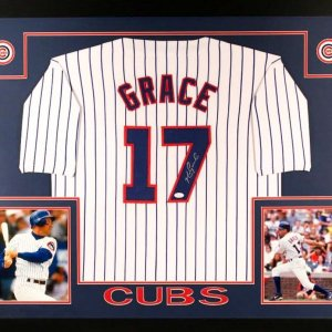 Mark Grace Signed Cubs 35x43 Custom Framed Jersey (JSA COA)