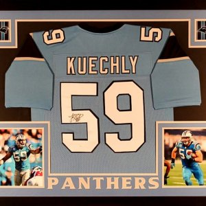 Luke Kuechly Signed Panthers 35x43 Custom Framed Jersey (JSA COA)