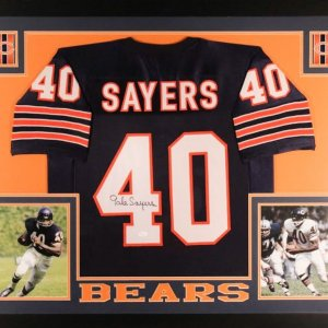 Gale Sayers Signed Bears 35x43 Custom Framed Jersey (JSA COA)
