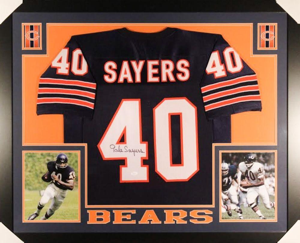813765fb16a Gale Sayers Signed Bears 35×43 Custom Framed Jersey (JSA COA ...