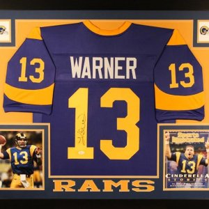 Kurt Warner Signed Rams 35x43 Custom Framed Jersey (JSA COA)