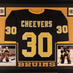 GERRY CHEEVERS AUTHENTIC AUTOGRAPHED FRAMED AND MATTED BOSTON BRUIN JERSEY