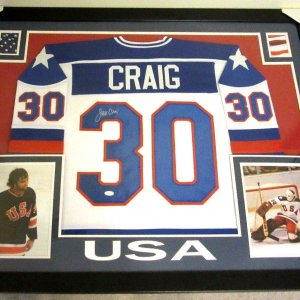JIM CRAIG AUTHENTIC AUTOGRAPHED FRAMED AND MATTED TEAM USA JERSEY