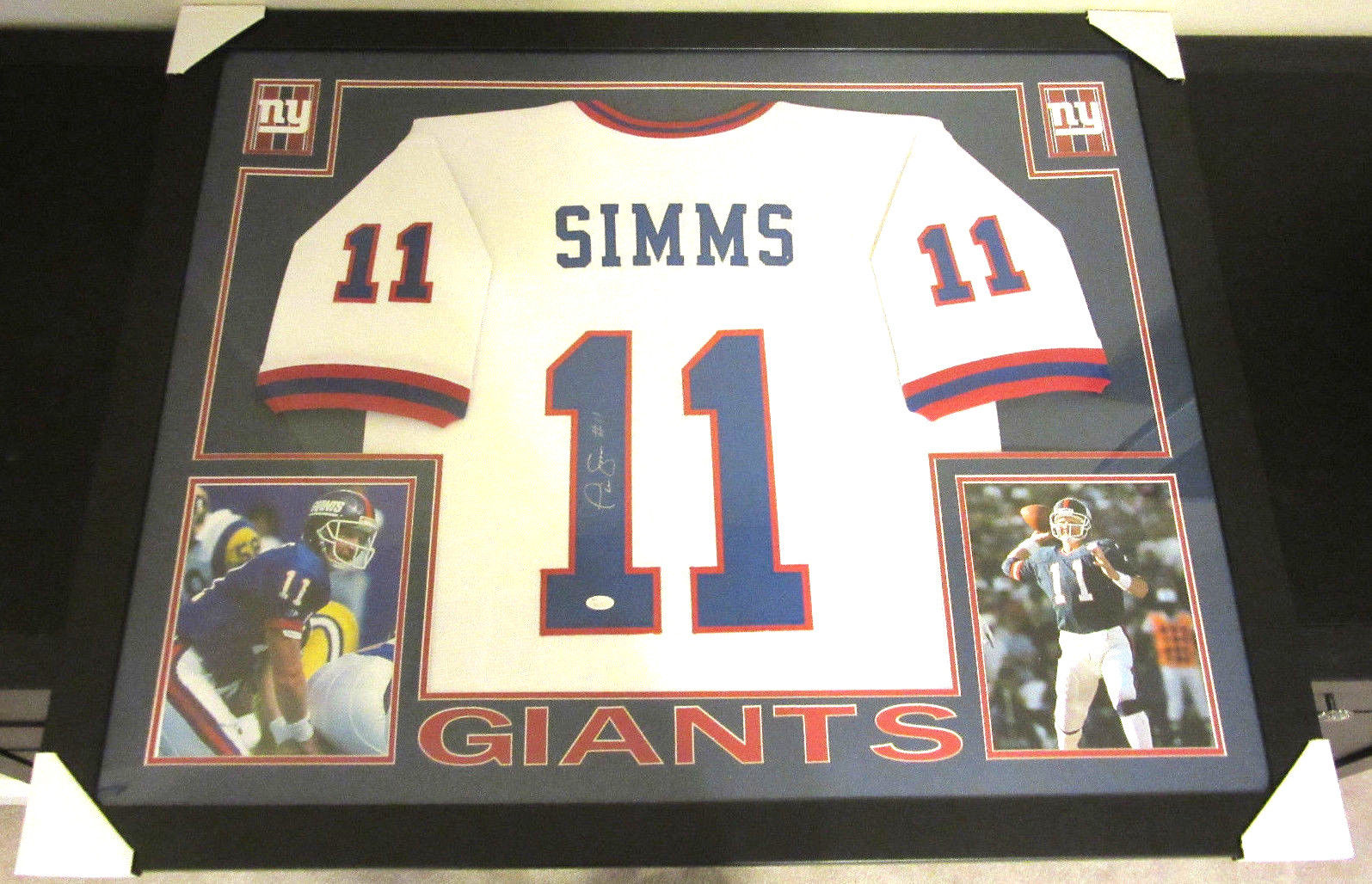 san francisco cf7f9 d9d78 PHIL SIMMS AUTHENTIC AUTOGRAPHED FRAMED AND MATTED NEW YORK GIANTS JERSEY