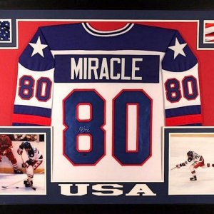 MIKE ERUZIONE AUTOGRAPHED FRAMED / MATTED MIRACLE ON ICE USA HOCKEY JERSEY