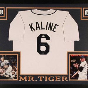 "Al Kaline Signed Tigers 35x43 Custom Framed Jersey Inscribed ""HOF 80"" (JSA COA)"