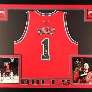 Derrick Rose Signed Bulls 35x43 Custom Framed Jersey (PSA COA)