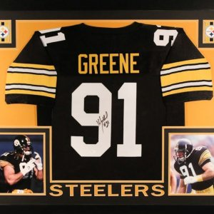 Kevin Greene Signed Steelers 35x43 Custom Framed Jersey (JSA COA)