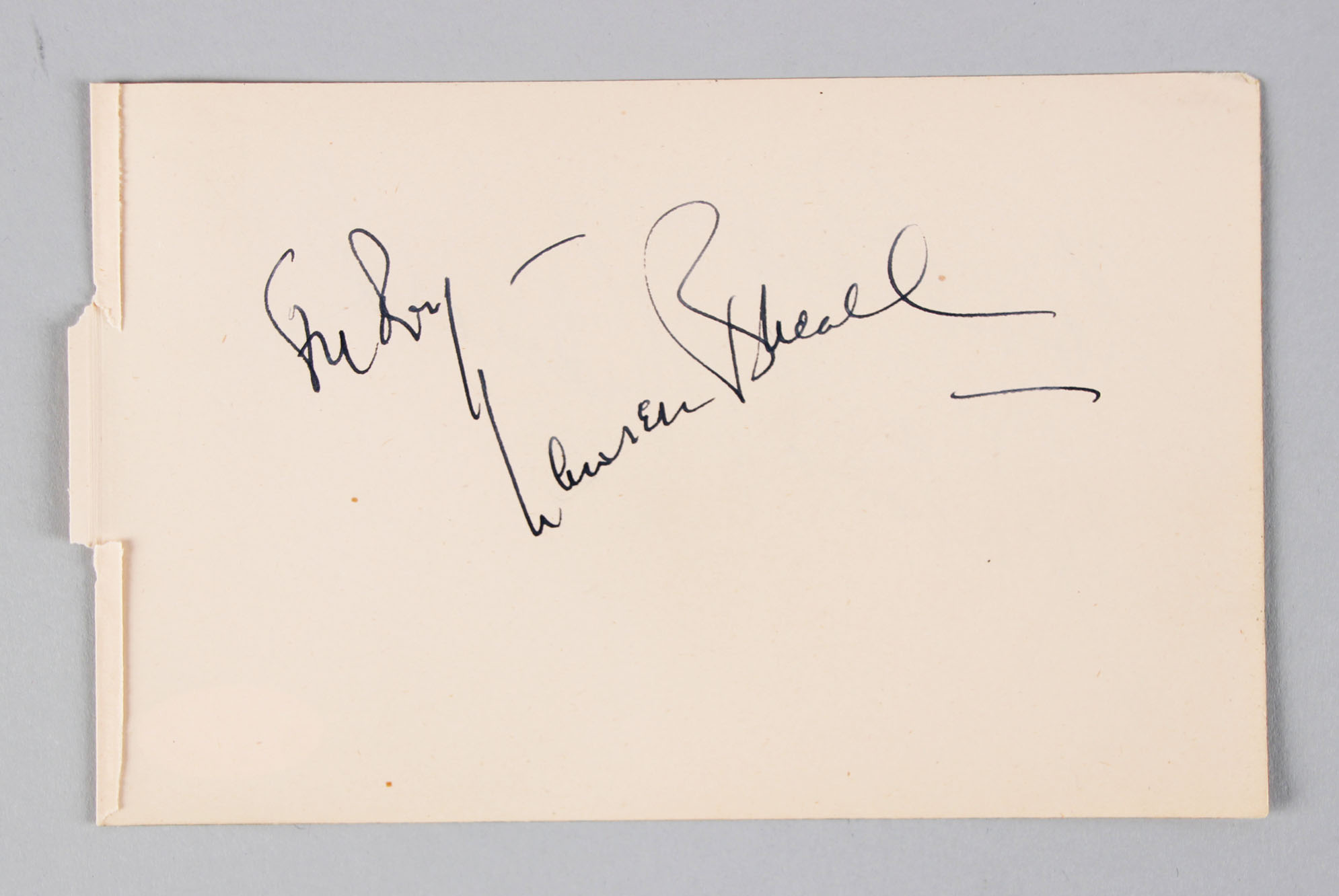 Woman of the Year - Lauren Bacall Signed 4x6 Vintage Album Page - COA JSA
