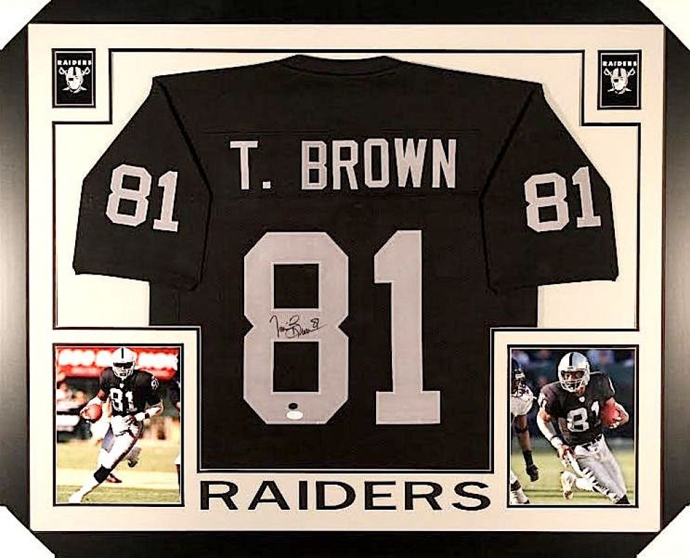 quality design deeb2 d9b2f TIM BROWN AUTOGRAPHED FRAMED / MATTED OAKLAND RAIDERS JERSEY