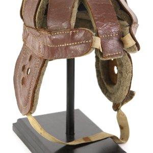 1905-1910 circa 8-Spoke Leather Head Harness Helmet W/ Intact Chin Strap (Reach)