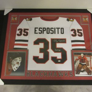 TONY ESPOSITO AUTHENTIC AUTOGRAPHED FRAMED AND MATTED BLACKHAWKS JERSEY