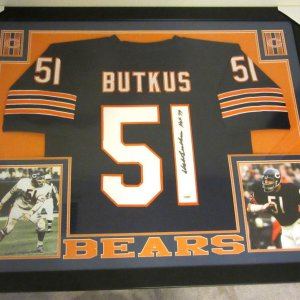 DICK BUTKUS AUTHENTIC AUTOGRAPHED FRAMED AND MATTED CHICAGO BEARS JERSEY