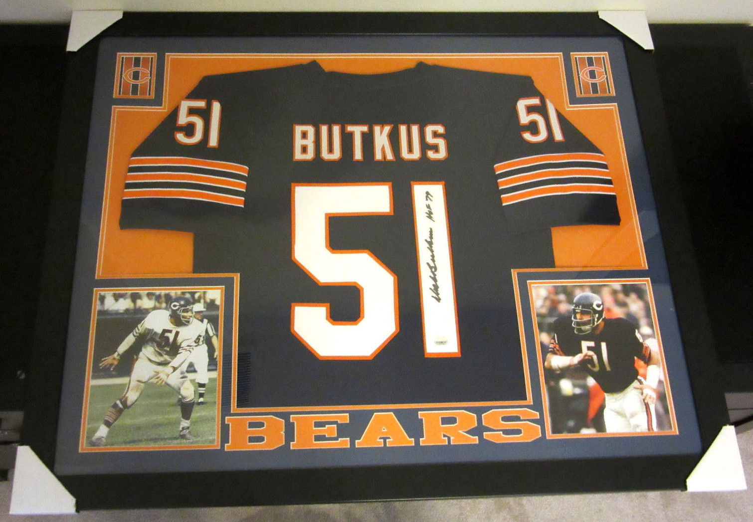 new style 3fd7a a6ba2 DICK BUTKUS AUTHENTIC AUTOGRAPHED FRAMED AND MATTED CHICAGO BEARS JERSEY