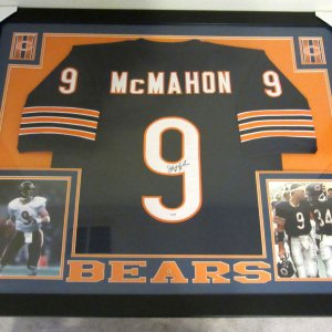 JIM MCMAHON AUTHENTIC AUTOGRAPHED FRAMED AND MATTED CHICAGO BEARS JERSEY