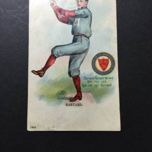 1905 ULLMAN MFG CO NY. POSTCARD HARVARD UNIVERSITY BASEBALL PLAYER #1464