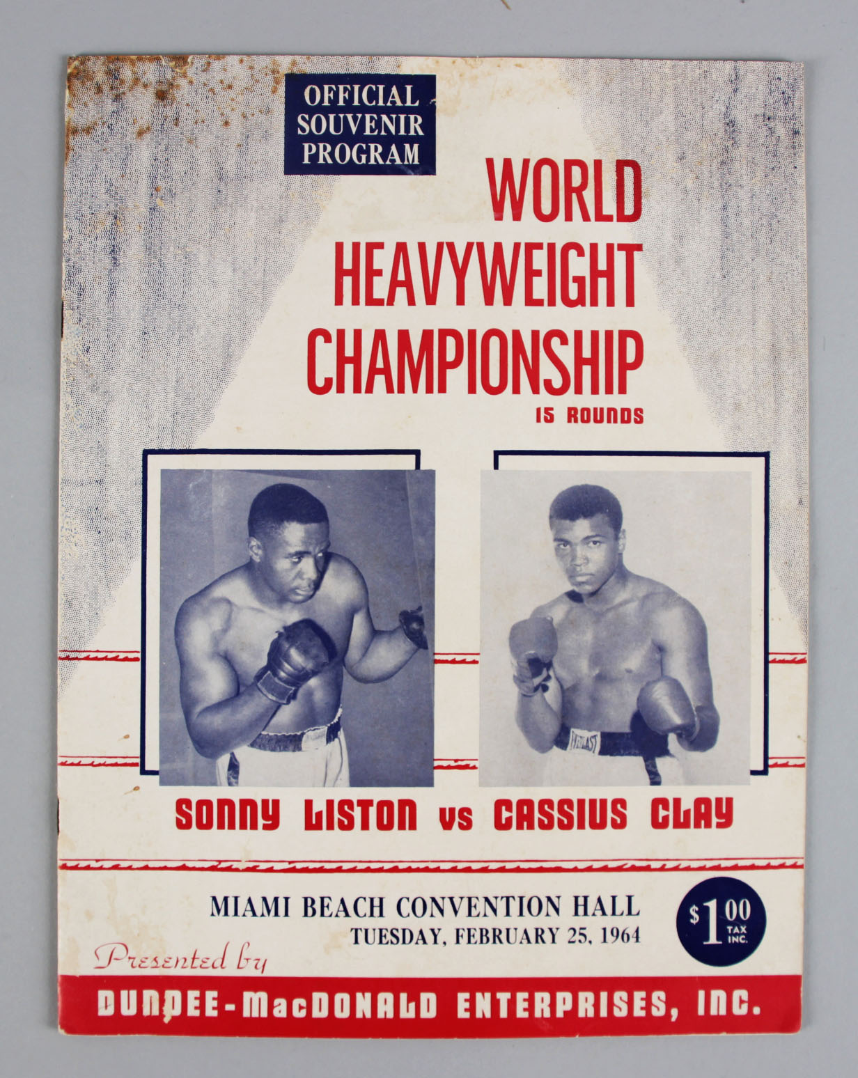 1964 SONNY LISTON VS. CASSIUS CLAY FIRST HEAVYWEIGHT CHAMPIONSHIP FIGHT PROGRAM