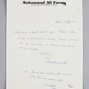 Muhammad Ali Signed, Handwritten Personal Note with Inspirational Quote JSA Full LOA