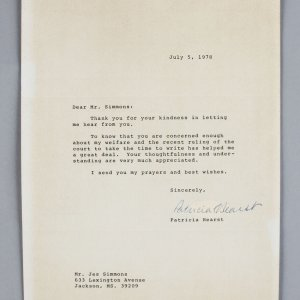 Patricia Hearst Signed Typed Letter Written From Prison - JSA