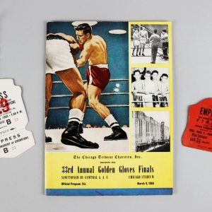 March 9, 1960 - Cassius Clay Official 33rd Annual Golden Gloves Finals Program at Chicago Stadium with Press Pass Ticket & Employee Ticket Badge (O'Brien Muhammad Ali Boxing Collection)