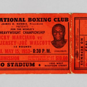 1953 Heavyweight Championship Rocky Marciano vs. Jersey Joe Walcott Boxing Fight Full Ticket