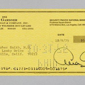 Academy Award Winings Actress - Ava Gardner Signed Personal Check - COA