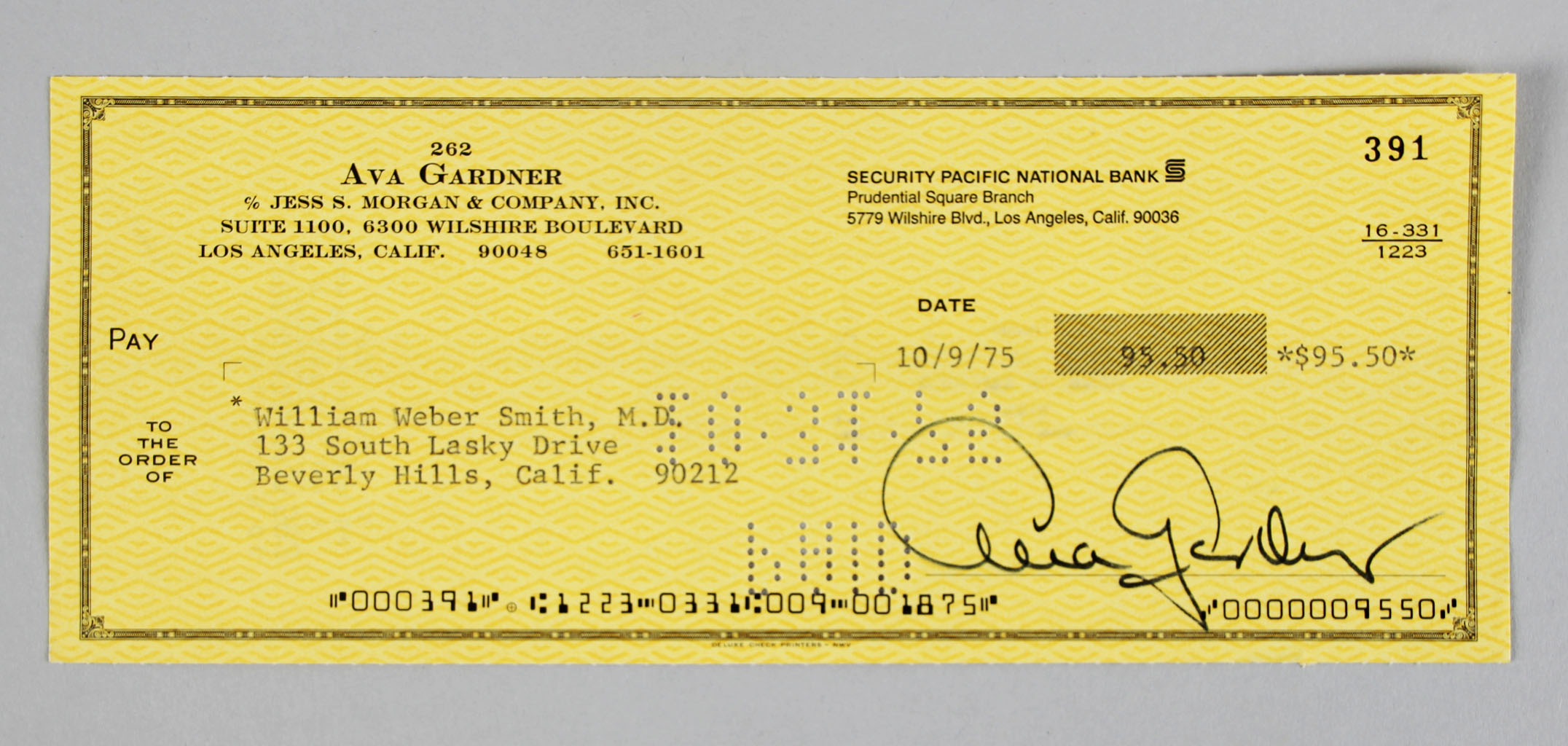 Ava Gardner Signed Personal Check - COA