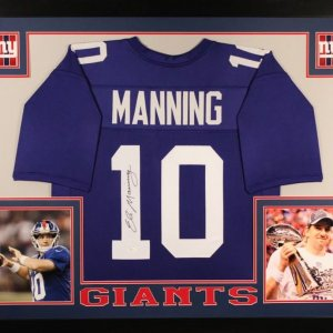 Eli Manning Signed Giants 35x43 Custom Framed Jersey (JSA COA)