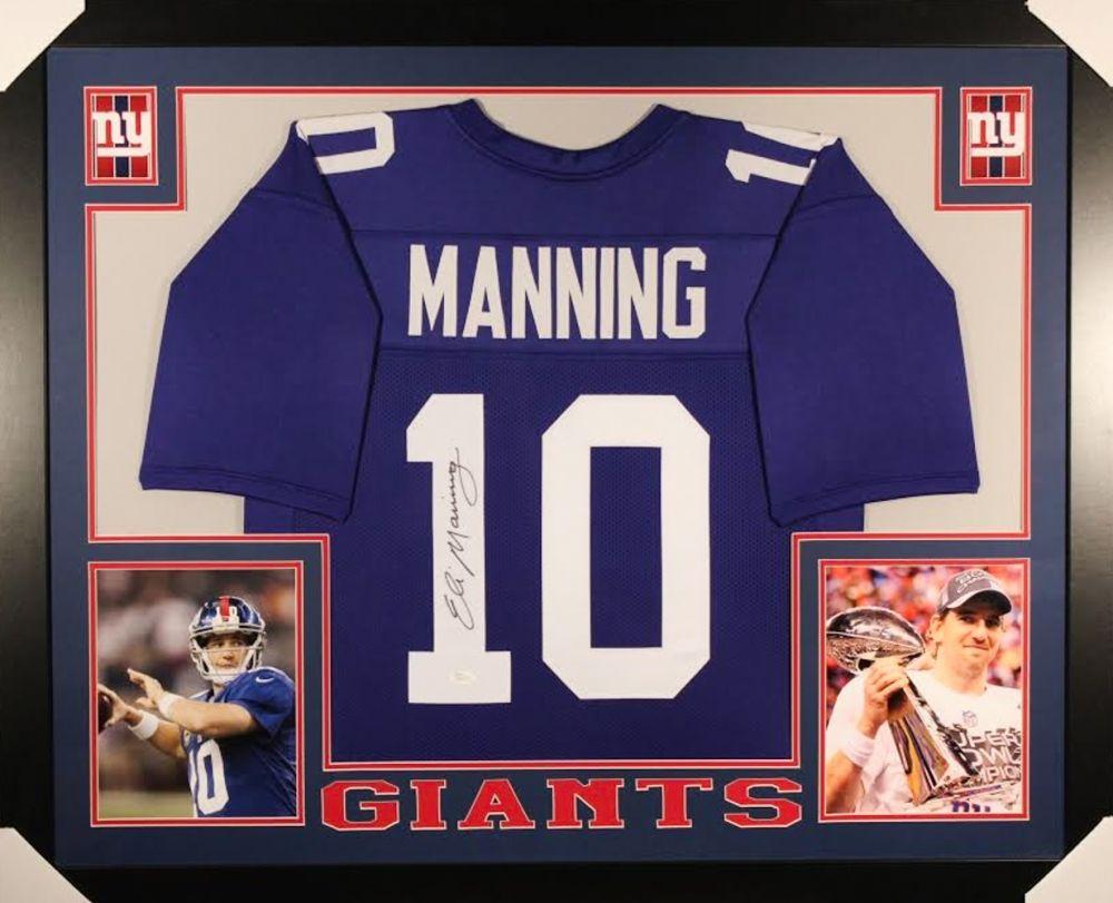 new concept 84e87 b9b8e Eli Manning Signed Giants 35x43 Custom Framed Jersey (JSA COA)