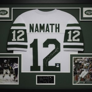 "Joe Namath Signed Jets 35"" x 43"" Custom Framed Jersey (JSA COA)"