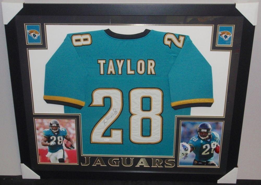 Fred Taylor Signed Jaguars 35x43 Custom Framed Jersey (JSA)