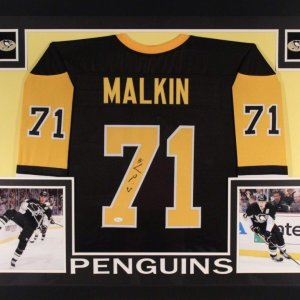 Evgeni Malkin Signed Penguins 35x43 Custom Framed Jersey (JSA COA)
