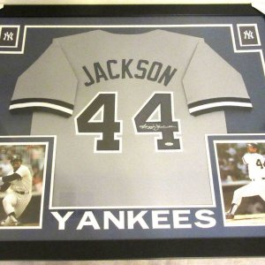 REGGIE JACKSON AUTHENTIC AUTOGRAPHED FRAMED AND MATTED NEW YORK YANKEES JERSEY