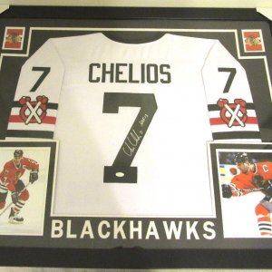 CHRIS CHELIOS AUTHENTIC AUTOGRAPHED FRAMED AND MATTED BLACKHAWKS JERSEY