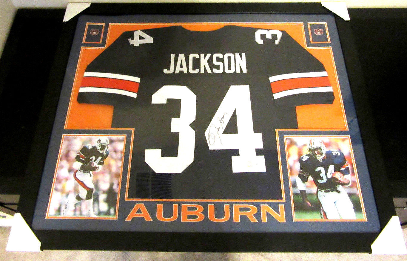 best service f23c7 378c4 BO JACKSON AUTHENTIC AUTOGRAPHED FRAMED AND MATTED AUBURN UNIVERSITY JERSEY