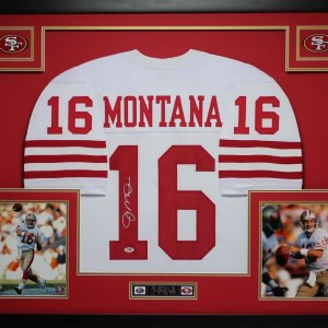 JOE MONTANA AUTHENTIC AUTOGRAPHED FRAMED AND MATTED SAN FRANCISCO 49ERS JERSEY