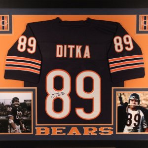 MIKE DITKA AUTHENTIC AUTOGRAPHED FRAMED AND MATTED CHICAGO BEARS JERSEY