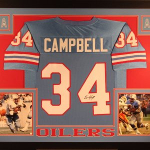 EARL CAMPBELL AUTHENTIC AUTOGRAPHED FRAMED AND MATTED HOUSTON OILERS JERSEY