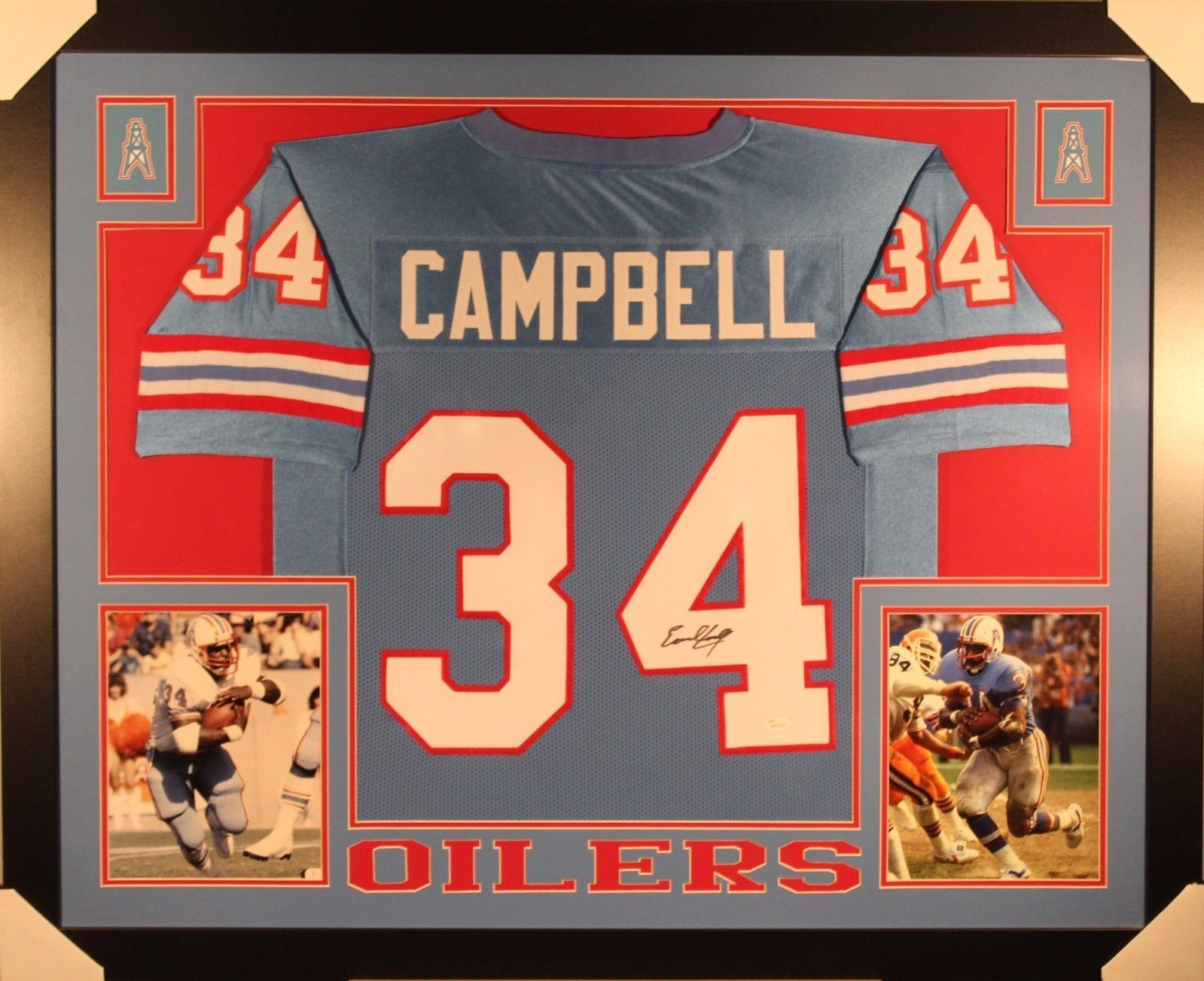 size 40 df114 a24f4 EARL CAMPBELL AUTHENTIC AUTOGRAPHED FRAMED AND MATTED HOUSTON OILERS JERSEY