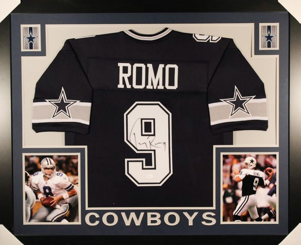 TONY ROMO AUTOGRAPHED FRAMED   MATTED DALLAS COWBOYS JERSEY ... a93832dea