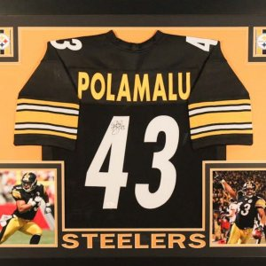 TROY POLAMALU AUTOGRAPHED FRAMED / MATTED PITTSBURGH STEELERS JERSEY
