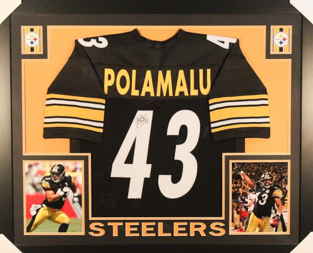 promo code c98e5 58351 TROY POLAMALU AUTOGRAPHED FRAMED / MATTED PITTSBURGH STEELERS JERSEY