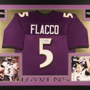 JOE FLACCO AUTOGRAPHED FRAMED / MATTED BALTIMORE RAVENS JERSEY