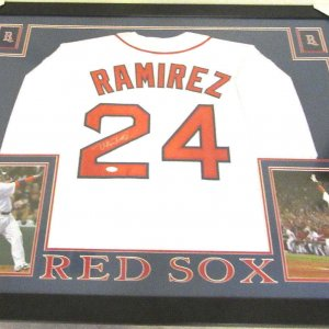 MANNY RAMIREZ AUTHENTIC AUTOGRAPHED FRAMED AND MATTED BOSTON REDSOX JERSEY