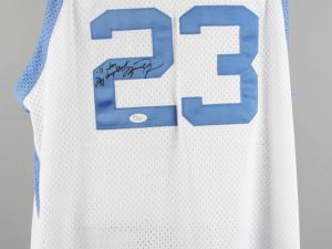 UNC - Michael Jordan Signed Basketball Jersey - JSA Full LOA